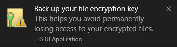 Creating a backup of your file encryption certificate and key can help you avoid permanently losing access to your encrypted files and folders