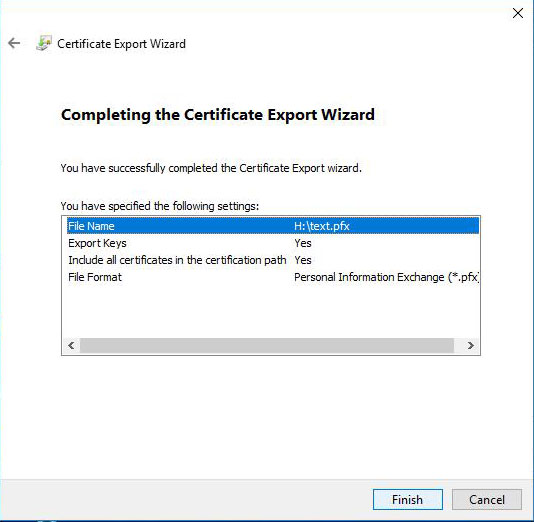certificate export wizard file