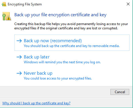 back up your file encryption certificate and key