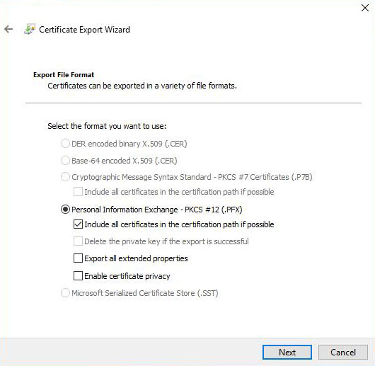 back up export file format