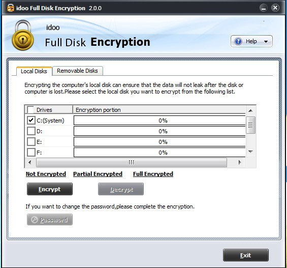 برنامج idoo Full Disk Encryption