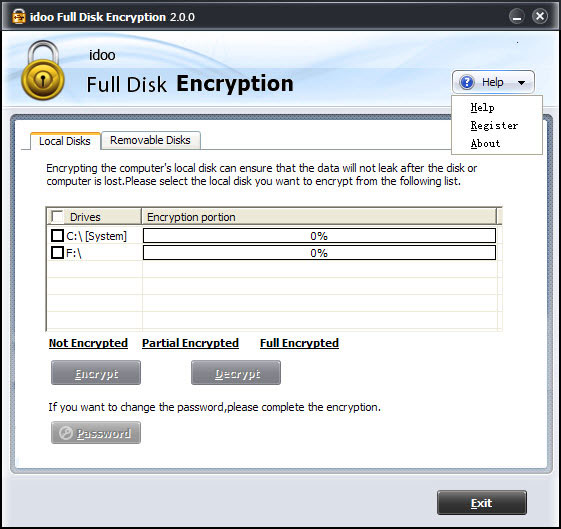 Password Protect Full Disk
