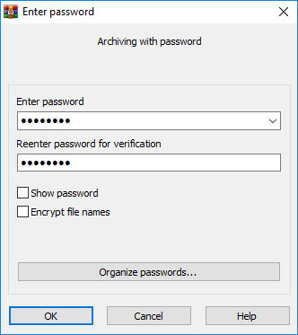 password protect file using winrar